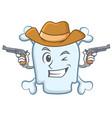cowboy skull character cartoon style vector image
