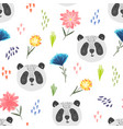 cute cartoon pattern with panda dots and flowers vector image vector image
