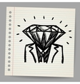 Doodle businessman-diamond sketch concept vector image vector image