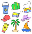 doodle of summer holiday object vector image vector image