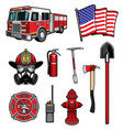 firefighting icons firefighter labels set vector image vector image
