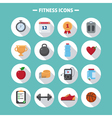 fitness icons set in flat style vector image