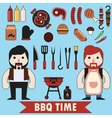 Flat barbecue set vector image