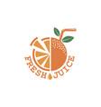 fresh juice emblem vector image vector image