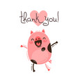 funny pig says thank you happy pink piglet vector image vector image