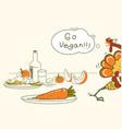 go vegan thanksgiving turkey bird runs away from vector image vector image
