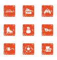grandma house icons set grunge style vector image vector image