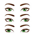green female eyes set vector image vector image