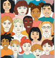 kids diversity head portraits line drawing doodle vector image
