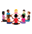 kids sitting in a circle vector image vector image