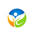 leaf eco people vegetarian logo vector image vector image