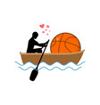 lover basketball guy and ball ride in boat lovers vector image vector image