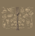 menu with fork and sketches different dishes vector image
