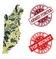 military camouflage composition of map of belize vector image vector image