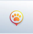 paw and location mark pet app icon vector image vector image