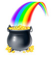 pot of gold at the end of the rainbow vector image vector image