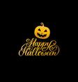 pumpkin with happy halloween vector image vector image