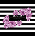 purple flowers card frame on striped vector image vector image