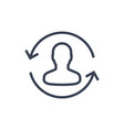 returning customer line icon on white vector image