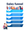 sales funnel with mix race people portrait stages vector image vector image