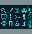 science set icons blue glowing neon style vector image
