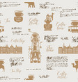 seamless background on tea and coffee theme vector image vector image