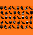 seamless halloween pattern on orange background vector image vector image