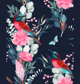 seamless pattern with birds and protea vector image vector image