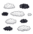 set of hand drawn clouds vector image vector image