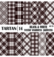 Set tartan seamless pattern in black and white vector image