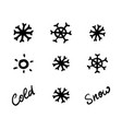 snowflakes in vintage doodle style cute winter vector image