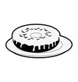 sweet donut on dish vector image vector image