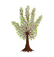 tree with leaf hand shape for nature help team vector image