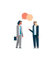 two arab businessmen combined chat bubble business vector image