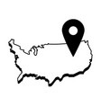 usa map outline with gps pin icon image vector image vector image