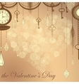 Valentines card with flare heart ans antique vector image vector image