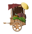 Wooden cart with different products isolated vector image vector image