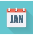 January Dates Flat Icon with Long Shadow vector image