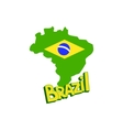 Silohuette Of Map Brazil With A Flag vector image