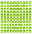 100 earth icons set green circle vector image