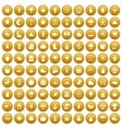 100 leaf icons set gold vector image vector image