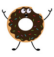 a chocolate cream donut with colorful sprinkles vector image vector image