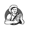 baker holding bread loaf grayscale retro vector image vector image
