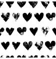Black and white grunge hearts print seamless vector image