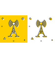 black antenna icon isolated on yellow and white vector image vector image