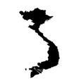 black silhouette country borders map of vietnam vector image