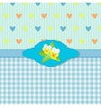 Blue Greeting Card with Pansies vector image vector image