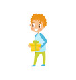 boy with gift box going to party birthday party vector image vector image