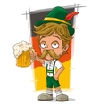 Cartoon little bavarian with hat and beer vector image vector image