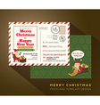 Christmas and Happy New year airmail postcard vector image